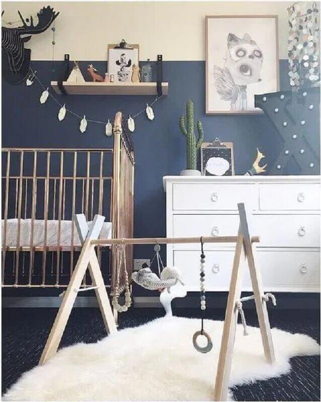 decoração simples para quarto de bebê azul marinho Foto Marrie Ometto