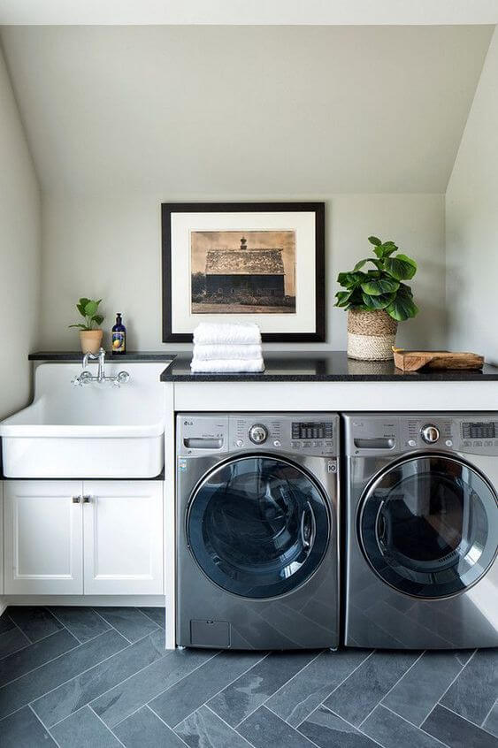 Decoração com lavanderia na bancada