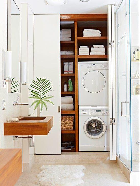 Decoração de lavandeira planejada de madeira