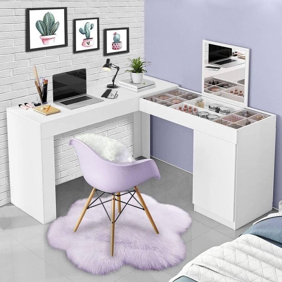 escrivaninha de canto para decoração de quarto pequeno Foto Pinterest