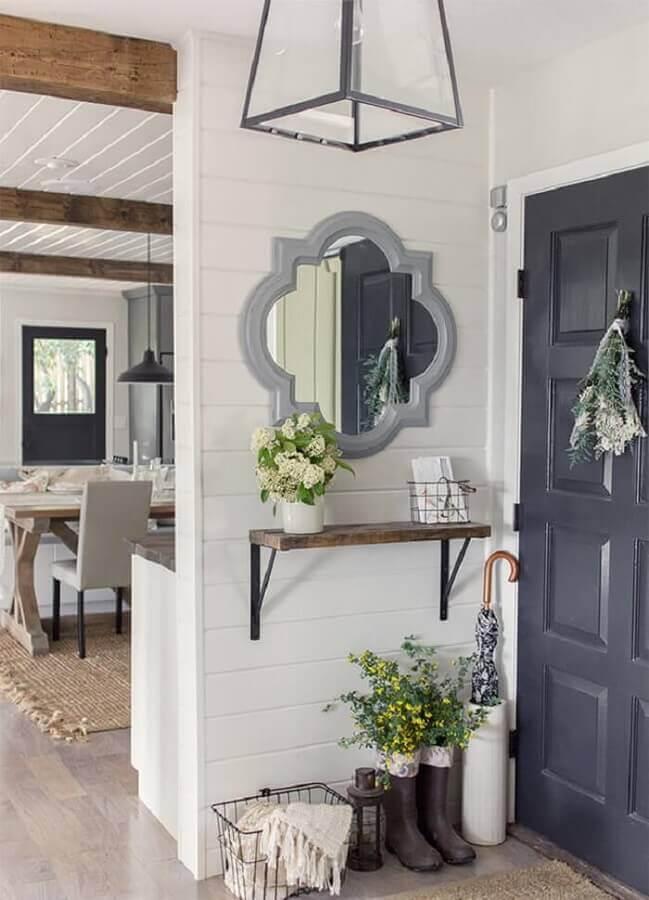 espelho com moldura cinza para hall de entrada pequeno Foto Pinterest