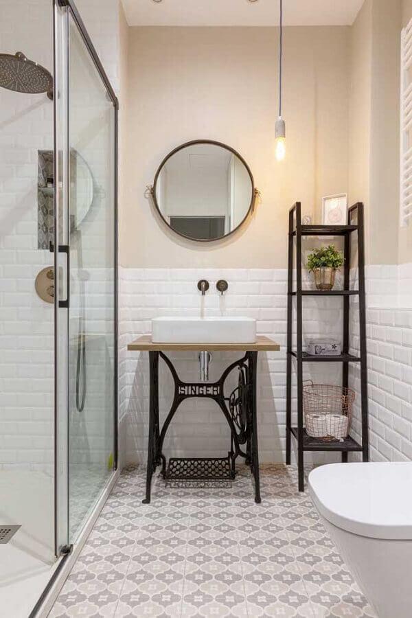 espelho redondo para decoração de banheiro simples Foto Houzz