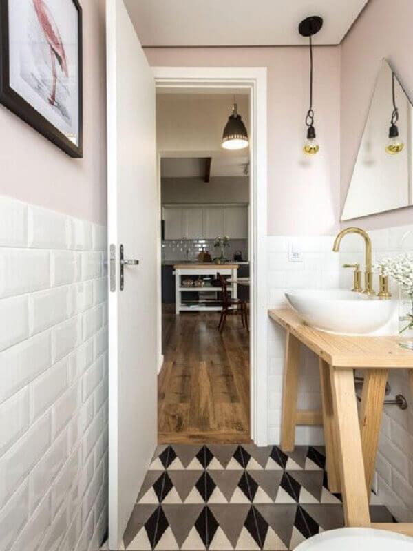 ideia de decoração para banheiro pequeno simples Foto Jeito de Casa