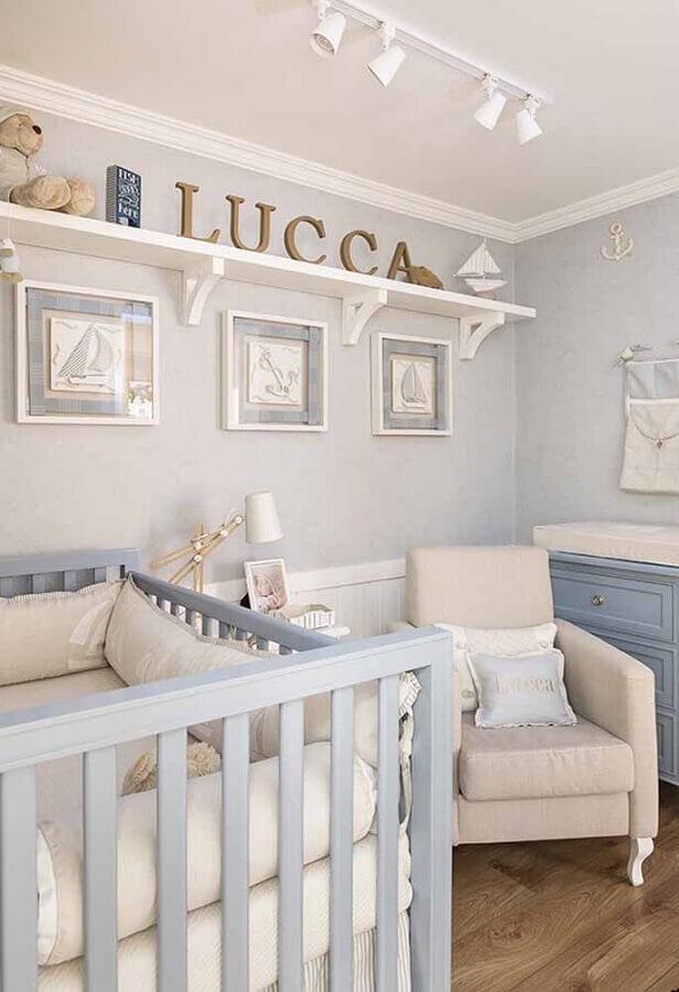 ideia de decoração para quarto de bebê azul claro Foto Pinterest