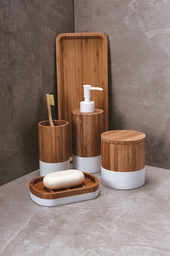 Kit para banheiro de madeira