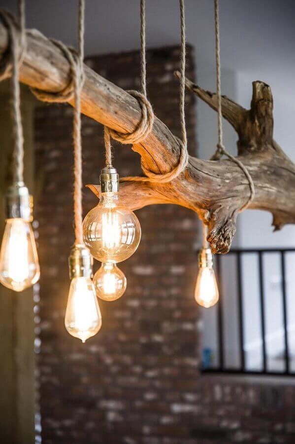 luminária rústica de madeira para decoração Foto Etsy