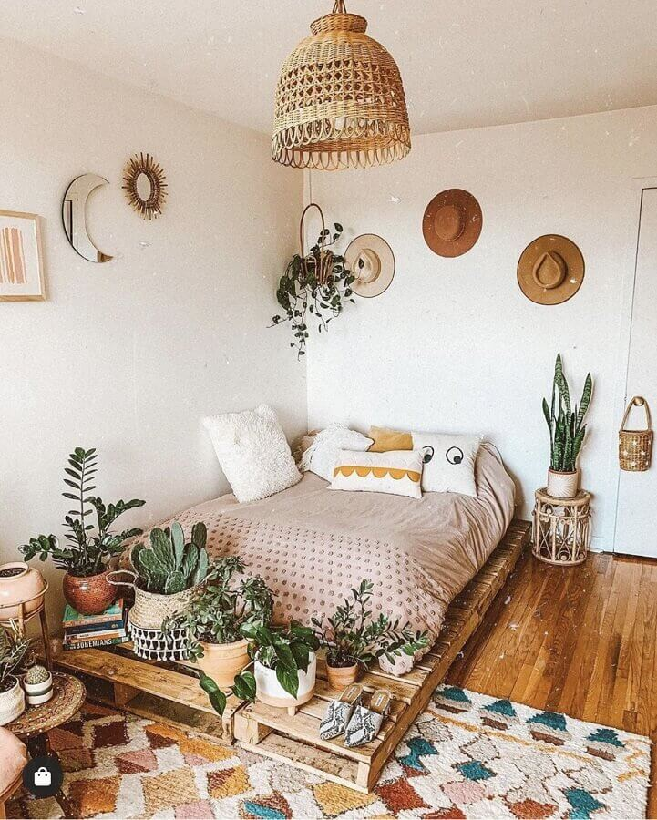 luminária rústica para decoração de quarto hippie Foto Pinterest