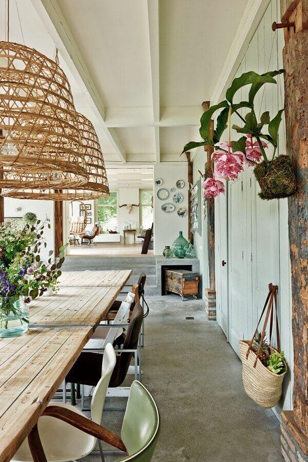 luminária rústica para varanda decorada Foto Casa de Valentina