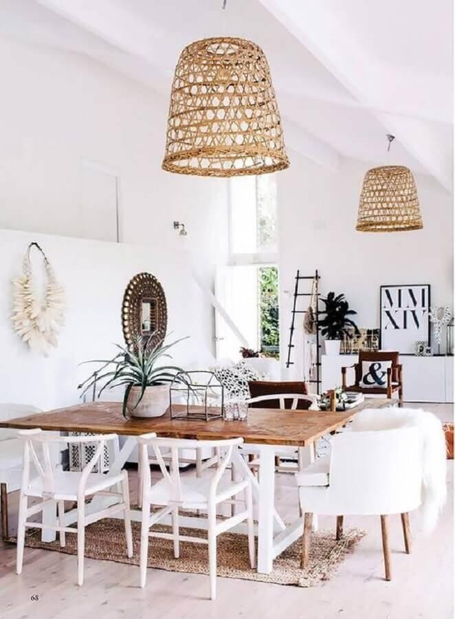 luminária rústica pendente para sala de jantar branca Foto MyDomaine