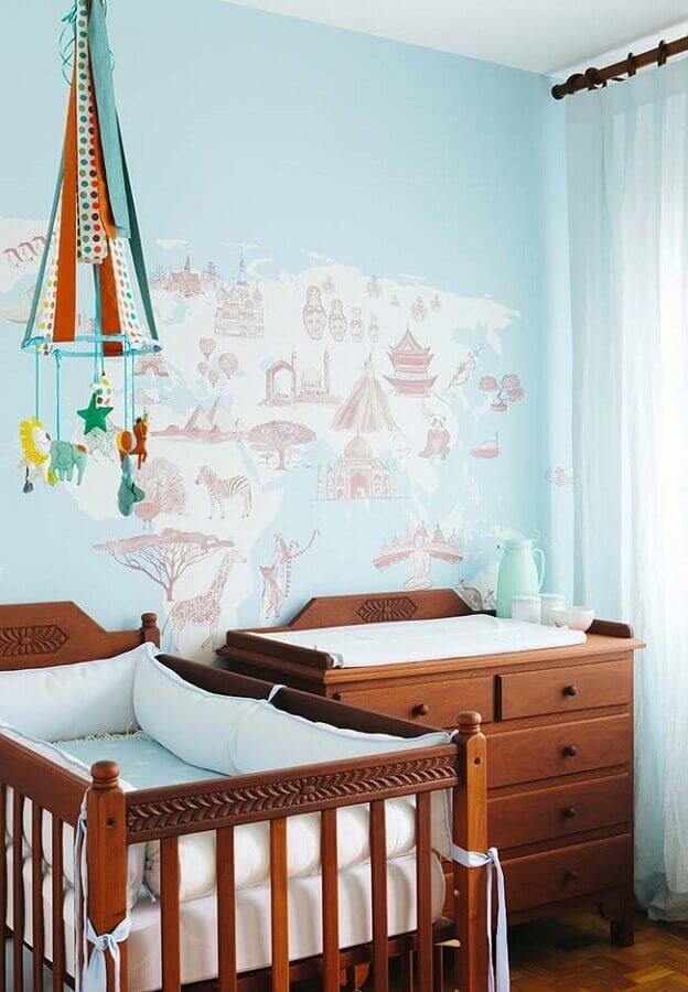 móveis de madeira para quarto de bebê simples azul Foto Home Fashion Trend