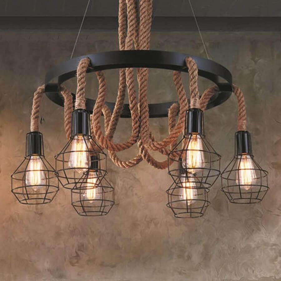modelo de luminária rústica de ferro e corda Foto Pinterest