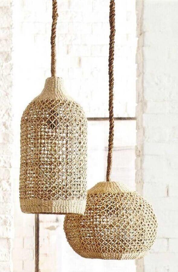 modelo de luminária rústica pendente feita em fibras naturais Foto Bloglovin