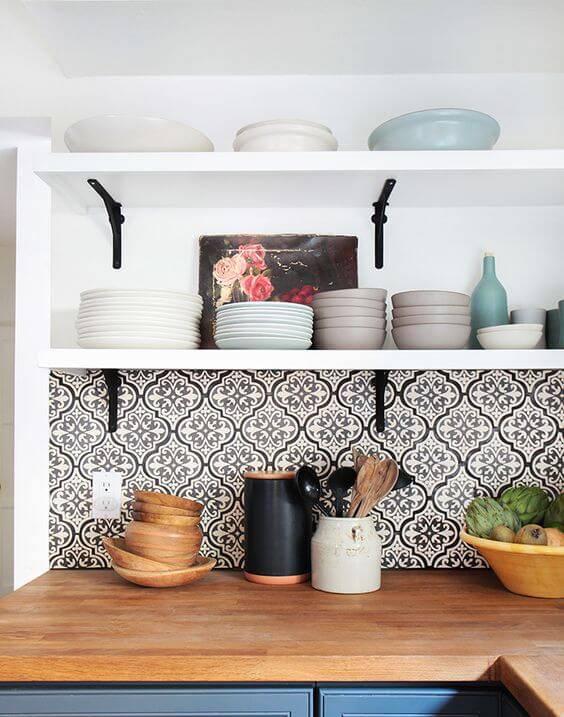 Papel de parede de cozinha preto e branco