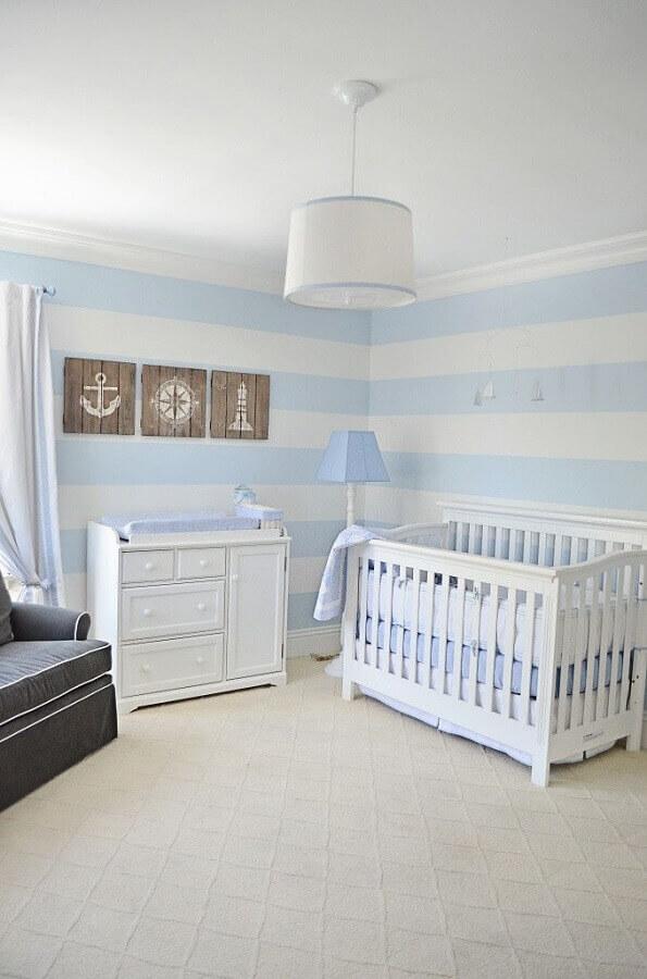 papel de parede listrado para decoração de quarto de bebê azul claro e branco Foto Pinterest