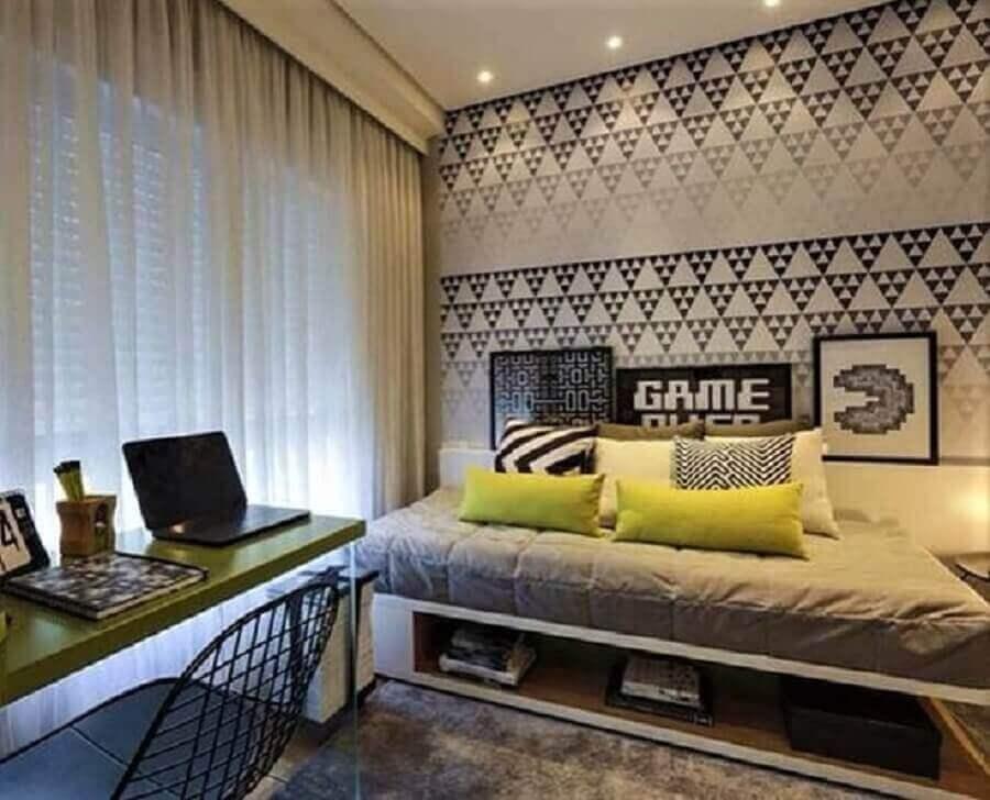 papel de parede moderno para quarto com escrivaninha jovem Foto Quartoon