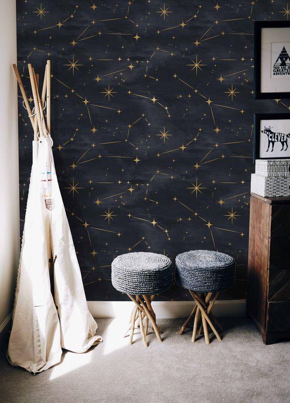Papel de parede preto com estrelas douradas