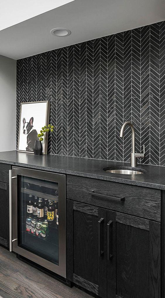 Papel de parede cinza e preto para cozinha