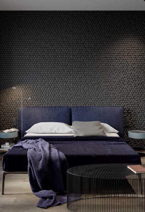 Papel de parede preto para quarto de casal chique