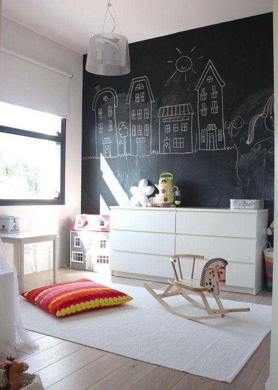 Papel de parede preto para quarto infantil criativo