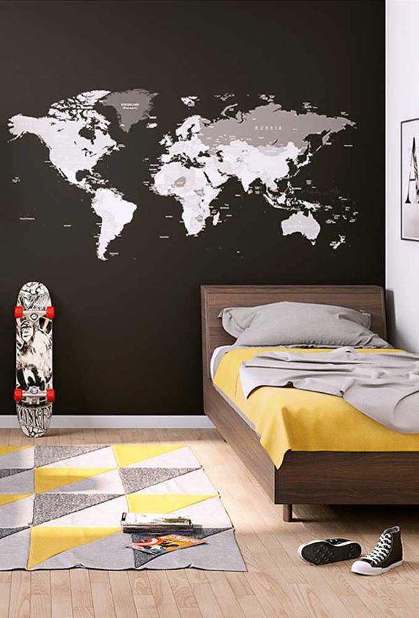 Papel de parede preto para quarto infantil