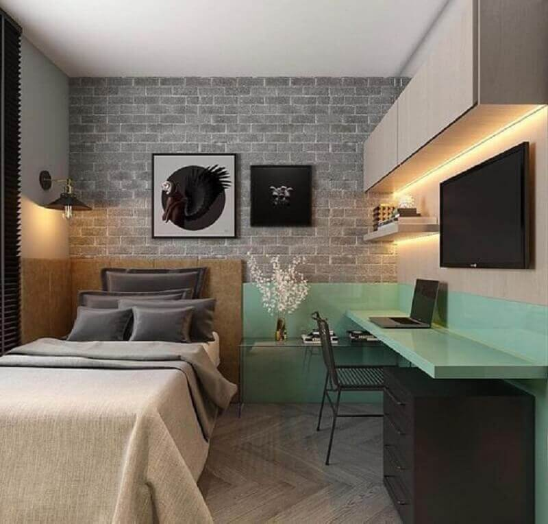 papel de parede tijolinho para quarto planejado com escrivaninha Foto CS Medeiros