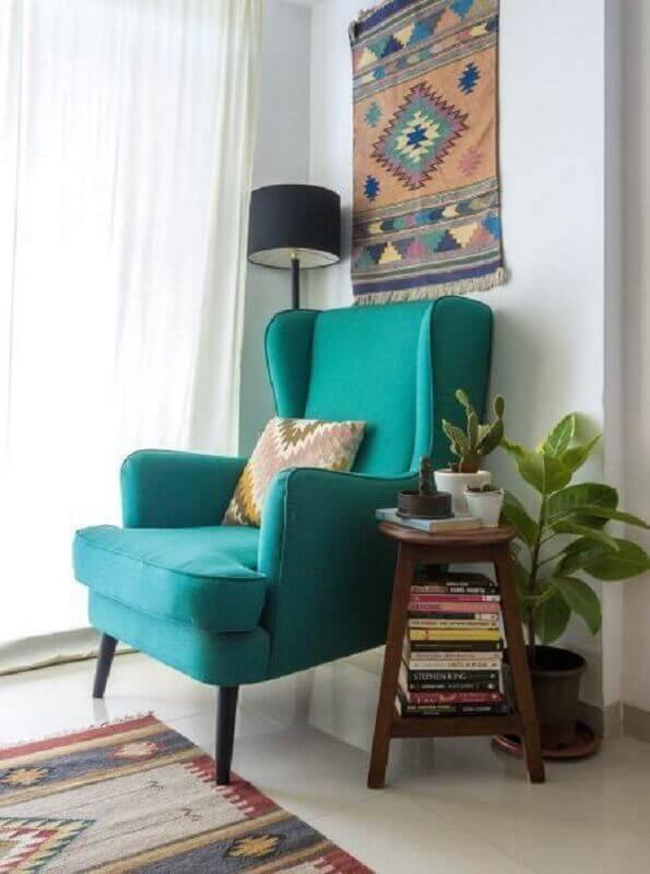 poltrona confortável para leitura com design clássico Foto Pinterest