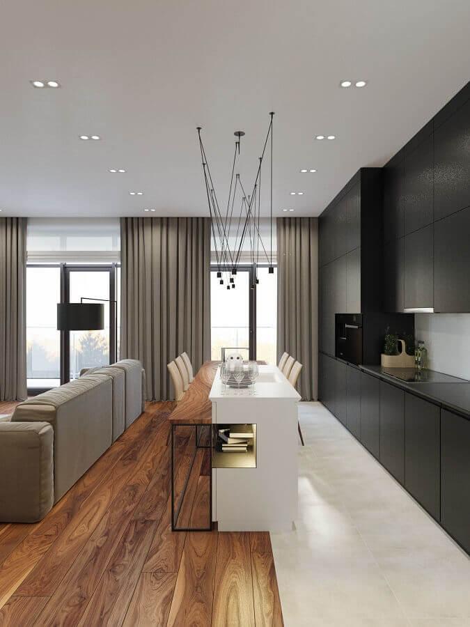projeto de casa conceito aberto moderna com cozinha com ilha Foto Behance