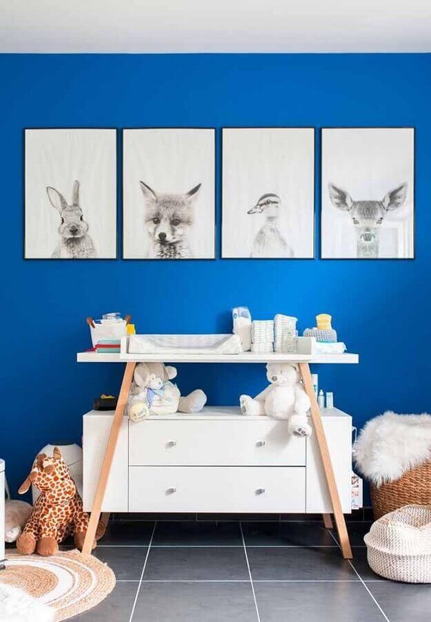 quadros de animaizinhos para decoração quarto de bebê masculino azul Foto Houzz