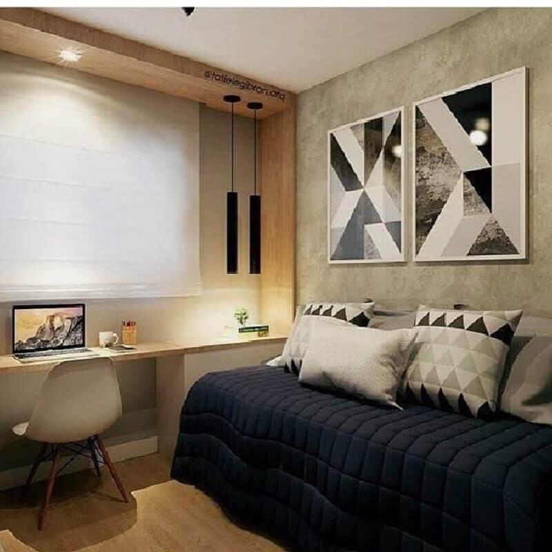 quarto planejado com escrivaninha com decoração moderna Foto Jeito de Casa