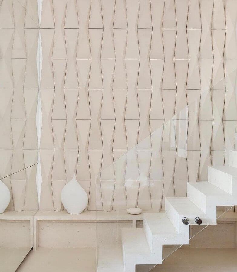 revestimento 3D para escada em cores claras Foto Pinterest