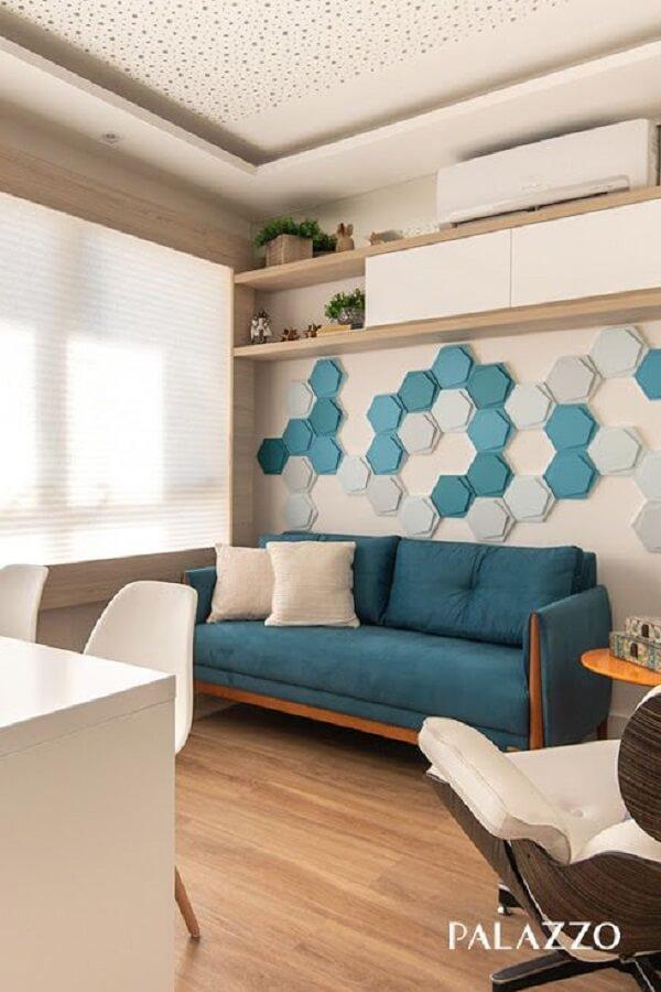 Revestimento azul 3D para sala de estar