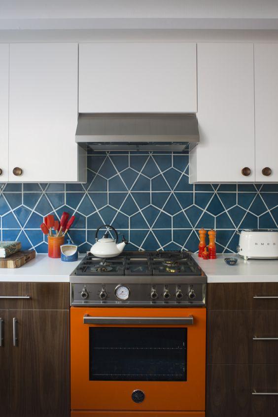 Revestimento azul geométrico