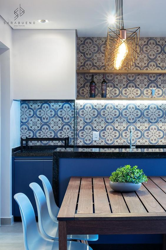 Revestimento azul para cozinha moderna
