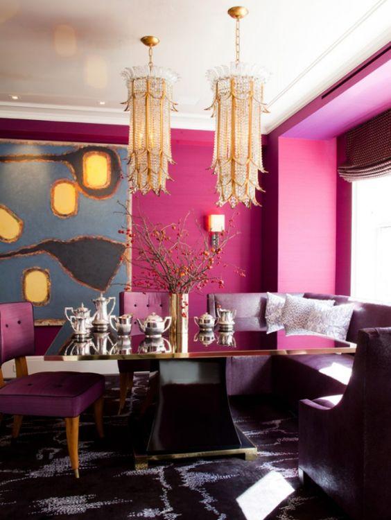 Sala rosa pink com mesa preto