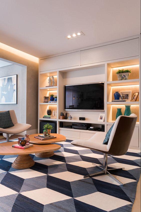 Tapete grande para sala com estampa geométrica