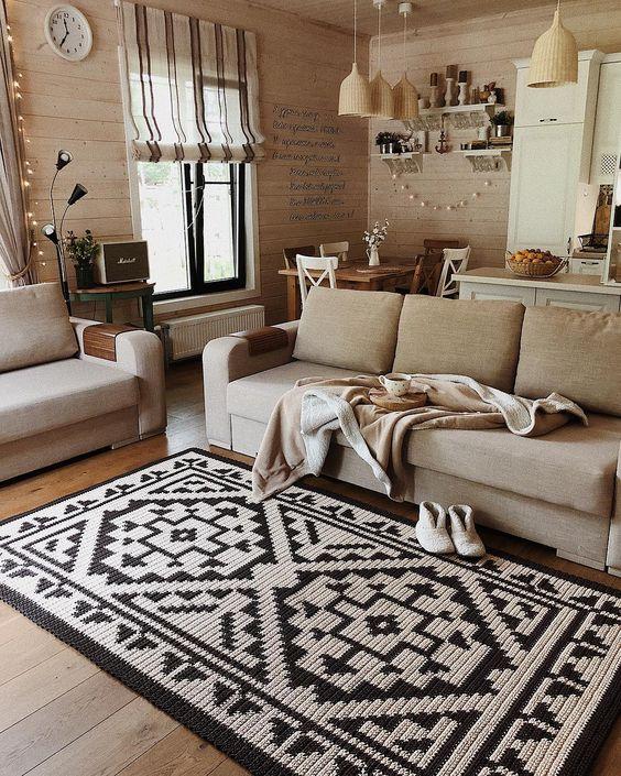 Tapete grande para sala de estar aconchegante