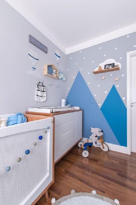 tons de azul para quarto de bebê com decoração moderna Foto Jeito de Casa