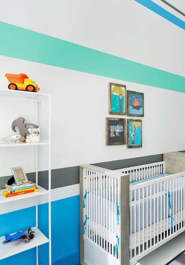 tons de azul para quarto de bebê decorado Foto Ideias Decor