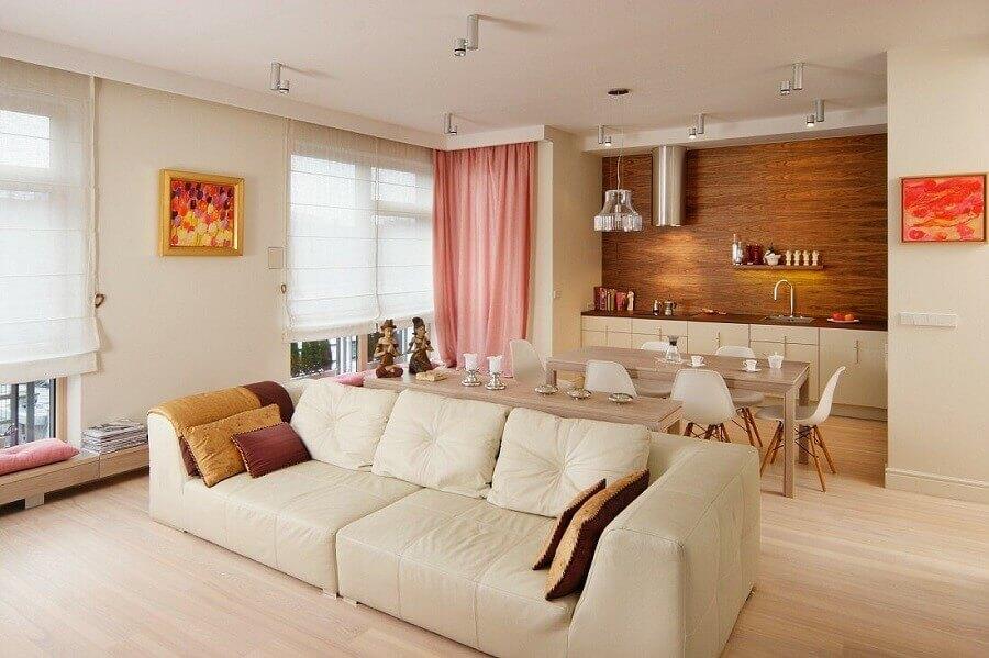 tons de bege para decoração de casa em conceito aberto Foto Home Design Interior