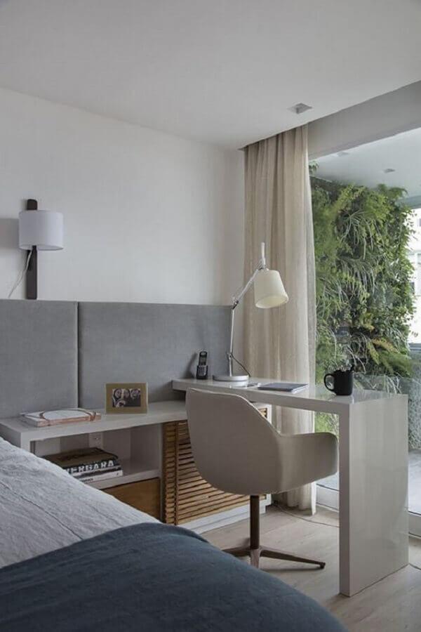 tons de cinza para quarto planejado com escrivaninha moderno Foto Pinterest