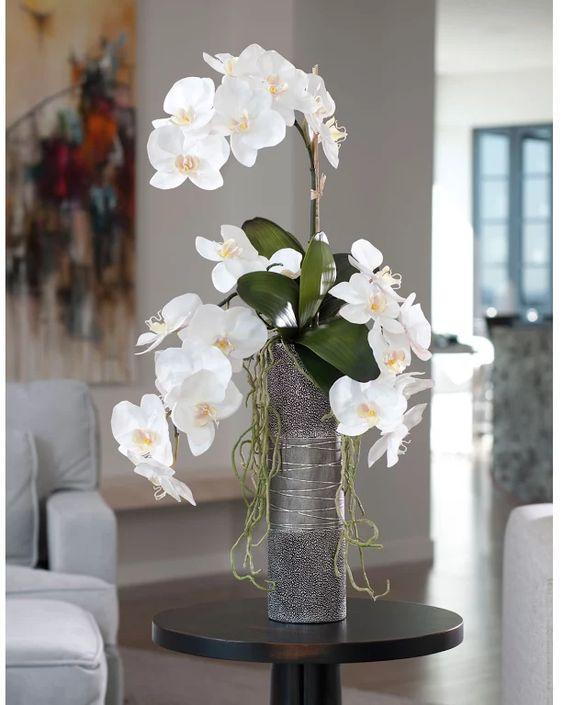 Vaso de orquídea branca para sala