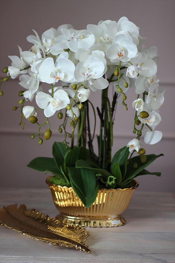 Vaso de orquídea dourado