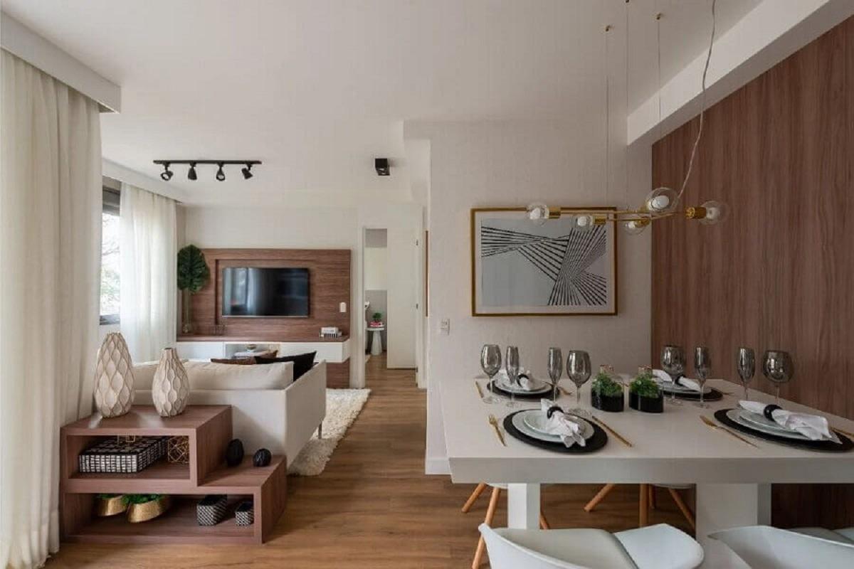 Apartamento pequeno decorado em cores neutras - Foto habitissimo