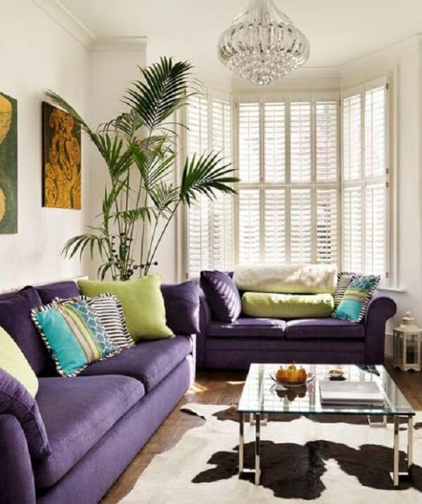 Conjunto de sofá roxo decoram e trazem conforto para a sala de estar