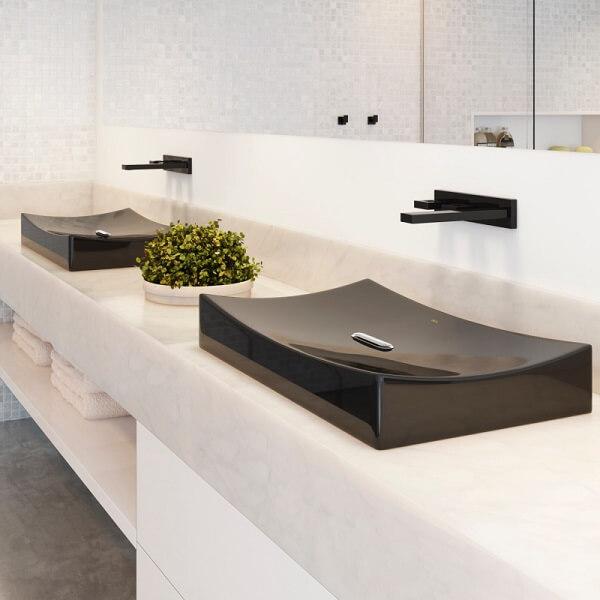 Cuba de apoio para banheiro Deca na cor preta
