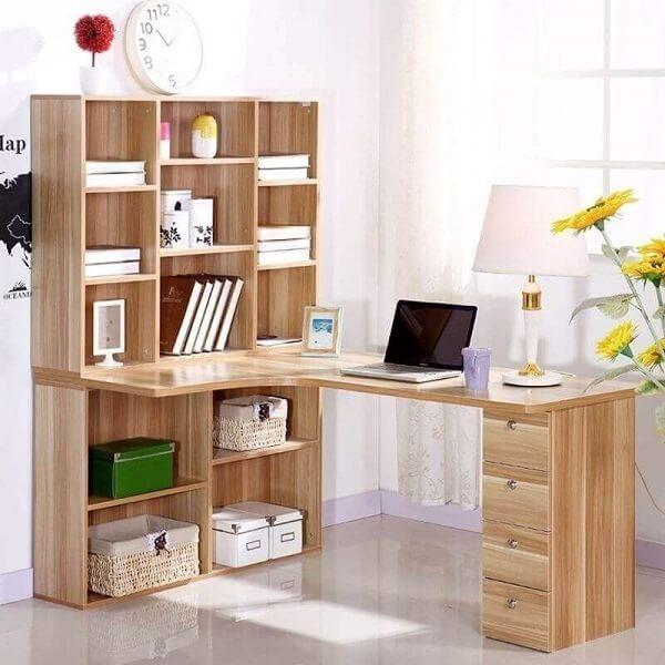 Escrivaninha de canto madeira com gaveteiros e nichos