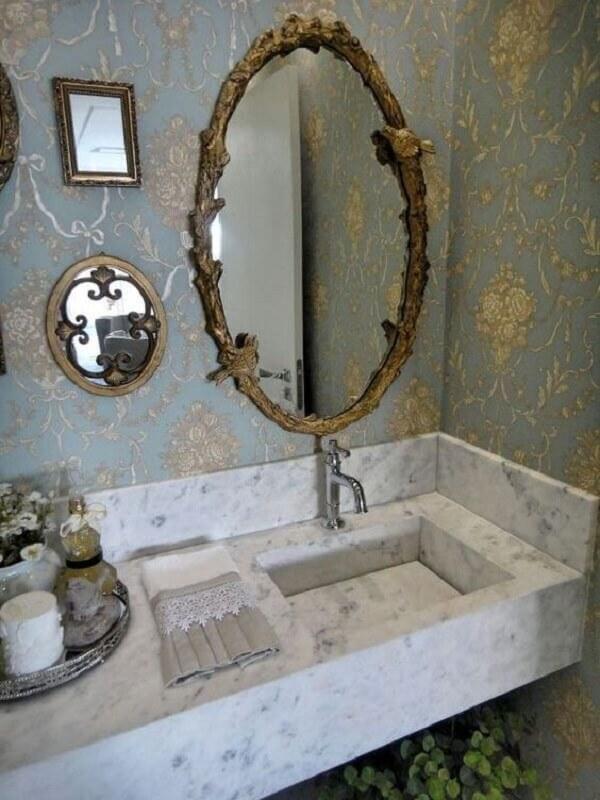 Espelho vintage oval com detalhes em passarinho
