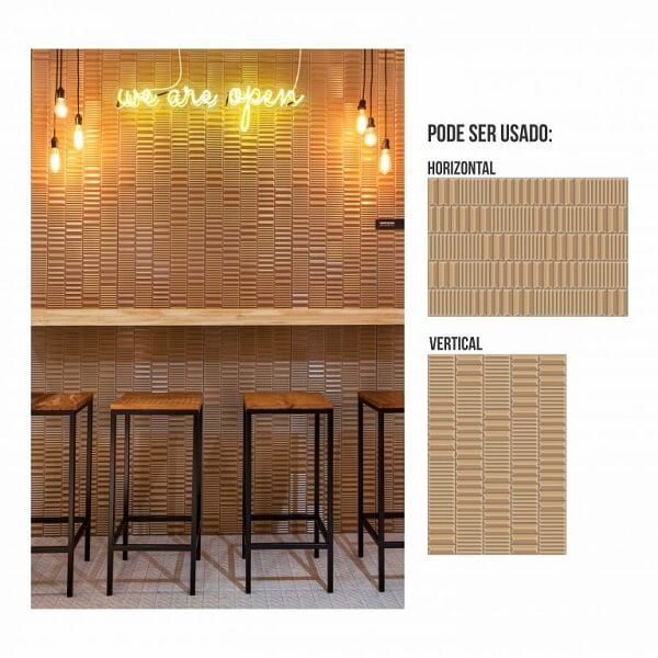 Esse modelo de revestimento da parede pode ser usada na forma horizontal ou vertical