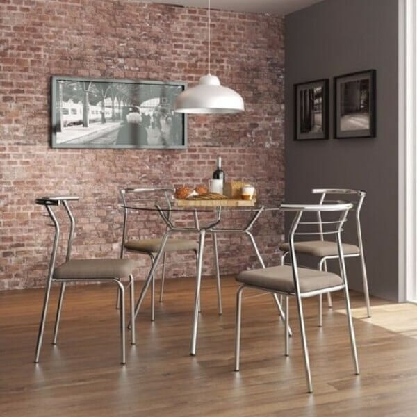 Mesa cromada 4 cadeiras para sala de jantar
