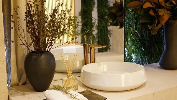 Modelo de cuba de apoio para banheiro em formato redondo